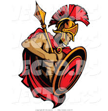 vector of a roman spartan warrior with shield and spear by