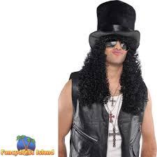 long black curly wig top hat slash guns n roses kiss mens fancy