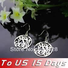 Custom Name Earrings Freeshipping Sterling Silver Circle Monogram Earrings Custom