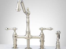 polished nickel kitchen faucets faucet bellevue bridge kitchen faucet with brass sprayer lever