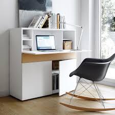 secretaire bureau bureau secrétaire en bois placage chêne et blanc mat l110cm focus