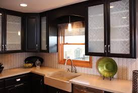Glass Etching Designs For Kitchen Bendheim Cabinet Glass Steel Inserts Transform Outdated Kitchen