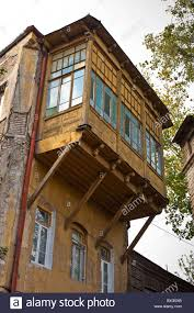 cantilevered balcony on building in tbilisi old town kala
