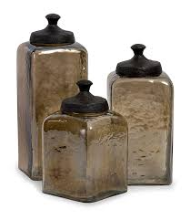 amazon com square brown luster canisters set of 3 kitchen