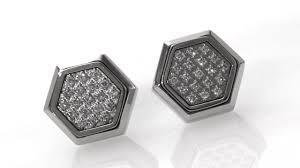 best diamond store diamond hexagonal stud earrings in stainless steel size regular