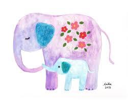 Home Decor Elephants Elephant Nursery Art Print Elephant Nursery Decor Mom Baby