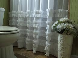 Ruffled Shower Curtain White Cotton Ruffle Shower Curtain U2022 Shower Curtain