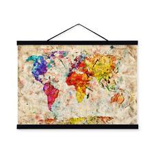 World Map Wood Wall Art by Aliexpress Com Buy Vintage Retro Colorful Creative World Map