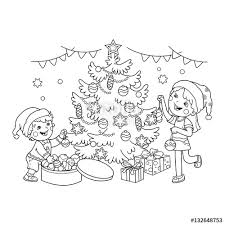 coloring page outline of children decorate the tree with