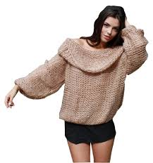 women inspired chunky fuzzy oversized off shoulder cowl neck loose