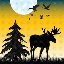 silhouette of moose on glade in night vector image 91685 u2013 rfclipart