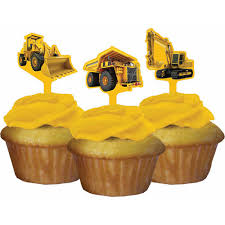 construction cake toppers creative converting construction birthday zone cupcake toppers