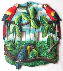painted light switch covers painted parrot metal art handcrafted tropical designs