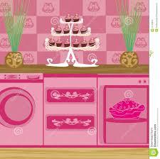 modern pink kitchen modern pink kitchen illustration 42140818 megapixl