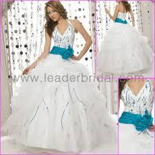 wedding dress teal sash
