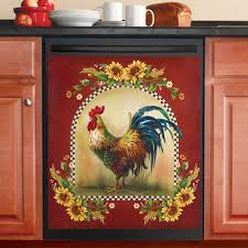 sunflower and rooster country dishwasher magnet from collections etc
