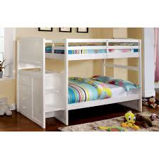 furniture white wood bunk bed with double beds and stairs also