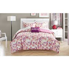 Polka Dot Bed Sets by Your Zone Magenta Diamond Bed In A Bag Bedding Set Walmart Com