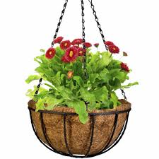 wrought coconut half round flowerpot hanging pots window rattan