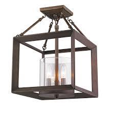 Flush Mount Cage Light Golden Lighting 2073 Sf Smyth 3 Light Convertible Semi Flush