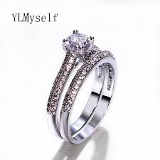 best wedding rings bridal wedding rings 2pcs set gold and white color best gifts 3a