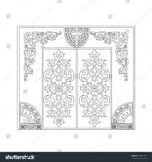iron door frame design corner sun stock vector 350331443