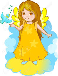 cute cartoon angel with a singing bird royalty free cliparts