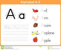 alphabet tracing worksheet stock vector image of literacy 44028350