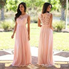 bridesmaid dress blush pink lace chiffon bridesmaid dress 2018 sheer neck lace top