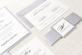 silver glitter silver shimmer and white wedding invitation suite