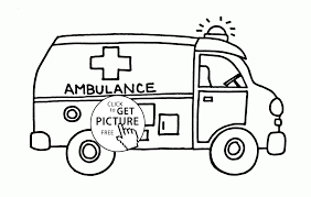 cartoon ambulance coloring page for kids transportation coloring