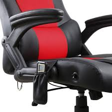 Computer Chair by 8 Point Massage Racing Pu Leather Office Computer Chair Black Red