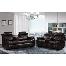 Black Leather Reclining Sofa And Loveseat Vivienne Brown Leather Air 2 Pc Reclining Sofa And Loveseat