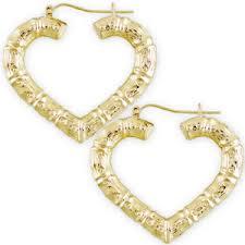 10k earrings 10k yellow gold heart door knocker bamboo hoop earrings 1 5 8 inch