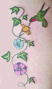 Flowers On Vines Tattoo Designs - flowers vine n green hummingbird tattoo design all tattoos for men