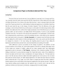 sample of reaction paper essay essays on the iliad essay on the iliad causes of the american comparison of book iliad and the film troy achilles