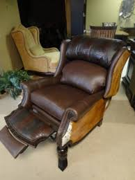 rustic recliner leather recliner country recliner brown