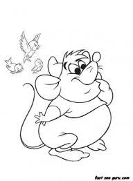 printable disney characters cinderellas mice and birds coloring