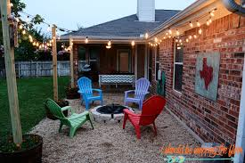 Gravel Fire Pit Area - i should be mopping the floor diy patio area with texas lamp posts