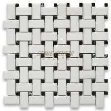 Marble Mosaic Tile Thassos White 1x2 Basketweave Mosaic Tile W Black Dots Polished