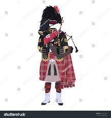 vector illustration scottish traditional piper uniform stock