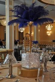 Centerpieces For Table Contemporary Blue Ostrich Feather Display Wedding Reception