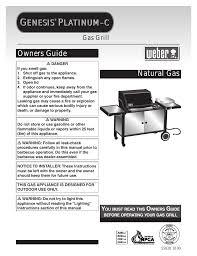 weber genesis platinum c user manual 30 pages