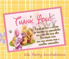 winnie the pooh baby shower thank you card instant