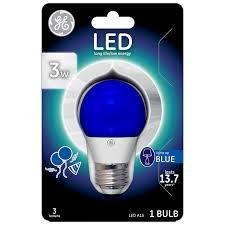Led Blue Light Bulb by Ge Lighting 92125 3 Watt Led 45 Lumen Party Light Bulb With Medium