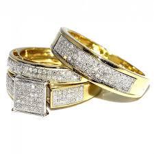 wedding rings sets for women wedding rings set trio men women 10k yellow gold 0 6ctw