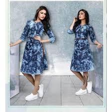 knee length denim dress at rs 600 piece avanti society surat