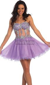 light purple short dress teens homecoming dress sweetheart beading sheer midriff purple short
