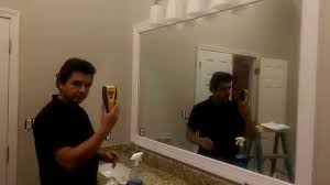 Installing Bathroom Mirror by How To Frame A Big Mirror Youtube