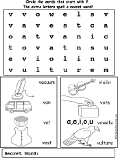 letter v wordsearch enchantedlearning com